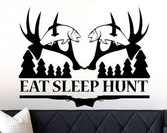 Live Laugh Hunt Wall Decal Hunting Decor Deer Antler By LucyLews
