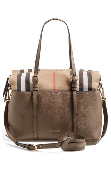 Burberry Burberry Classic Check   Leather Diaper Bag available at  Nordstrom 7cf9fbde1d7b3