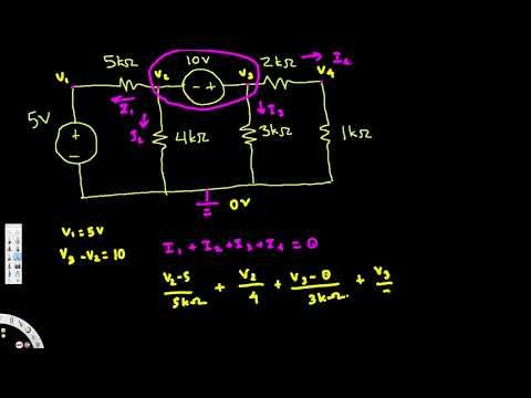 Nodal Analysis Example Independent Voltage Source Harder