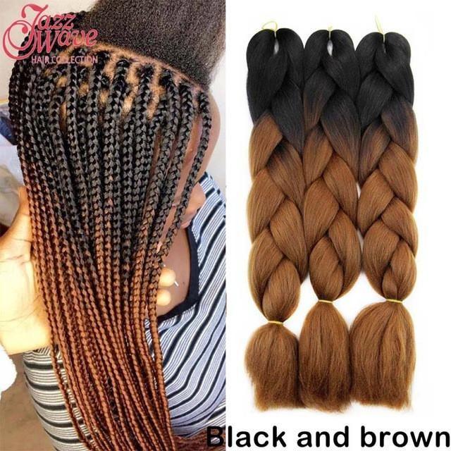 2018 New Black And Brown Kanekalon Braiding Hair 24 Ombre Kanekalon