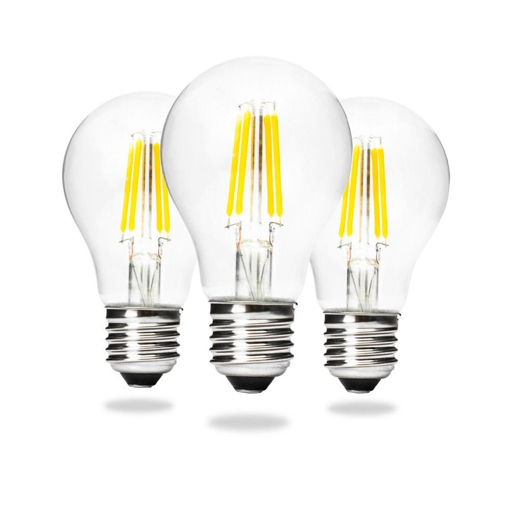 A60 E27 Edison Led Filament Light Bulb Lamps 4w 6w 8w 360 Degree 12v Fluorescent Lamp Driver Retro Ball