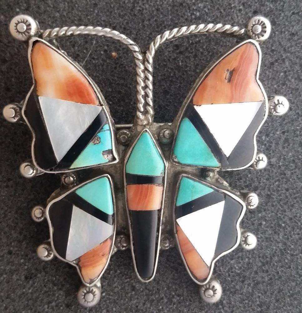 Vintage Zuni Inlay Butterfly Pin Zuni Jewelry Vintage Zuni Butterfly Jewelry