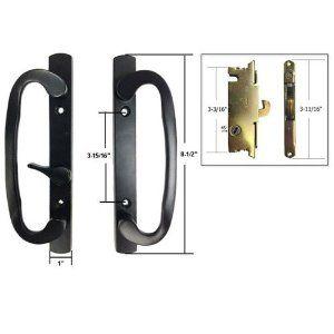 STB Sliding Glass Patio Door Handle Set with Mortise Lock, Black ...