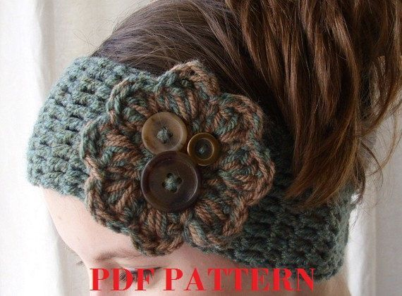 Crochet Winter Headband With Flower Pattern Pdf Pattern Crochet