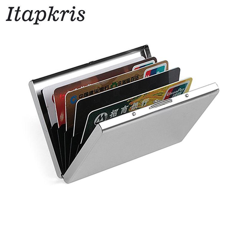the best Stainless Steel Credit Card Holder Men Slim Anti Protect Travel ID  Cardholder Women Rfid Wallet Metal Case Porte Carte 8b5599703