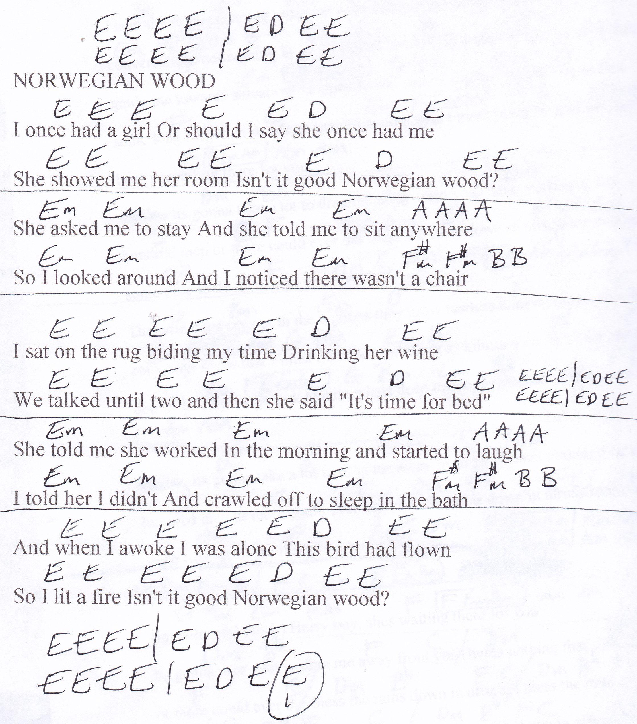 Norwegian Wood Beatles Guitar Chord Chart In E Major Guitar
