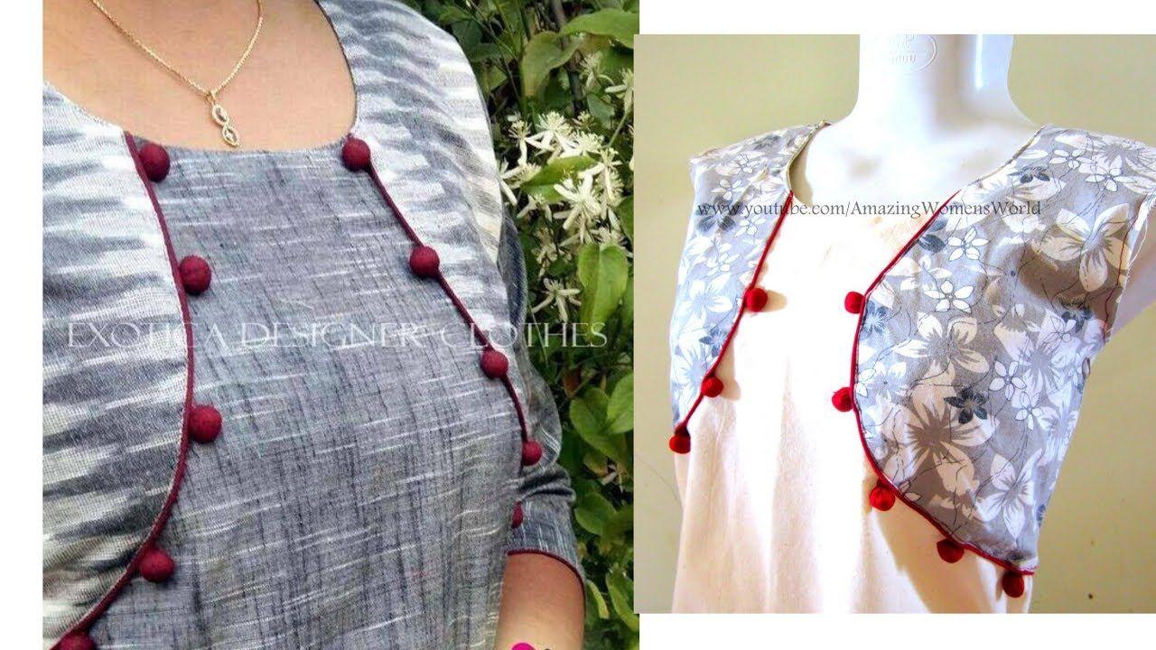 b0a4b5335d351 Jacket style Pattern Kurti | Kameez Cutting & Stitching | DIY | soza ...
