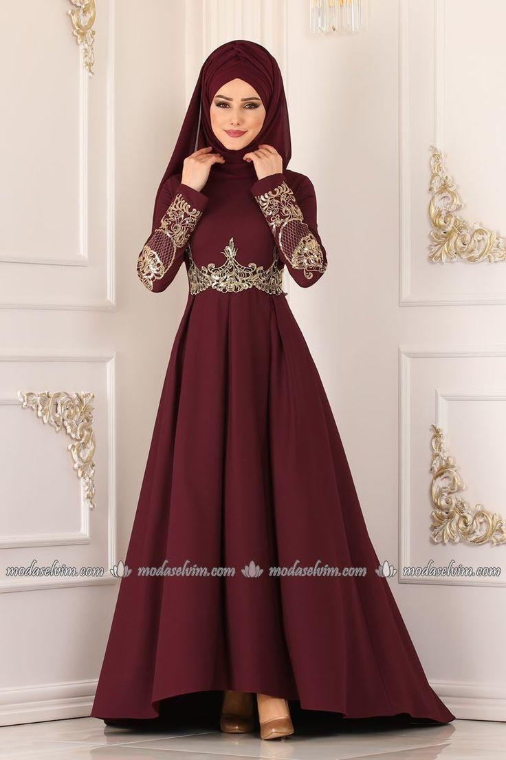 Fashion Selvim Gold geschnürt Peplum Abendkleid 16AY16 Burgund