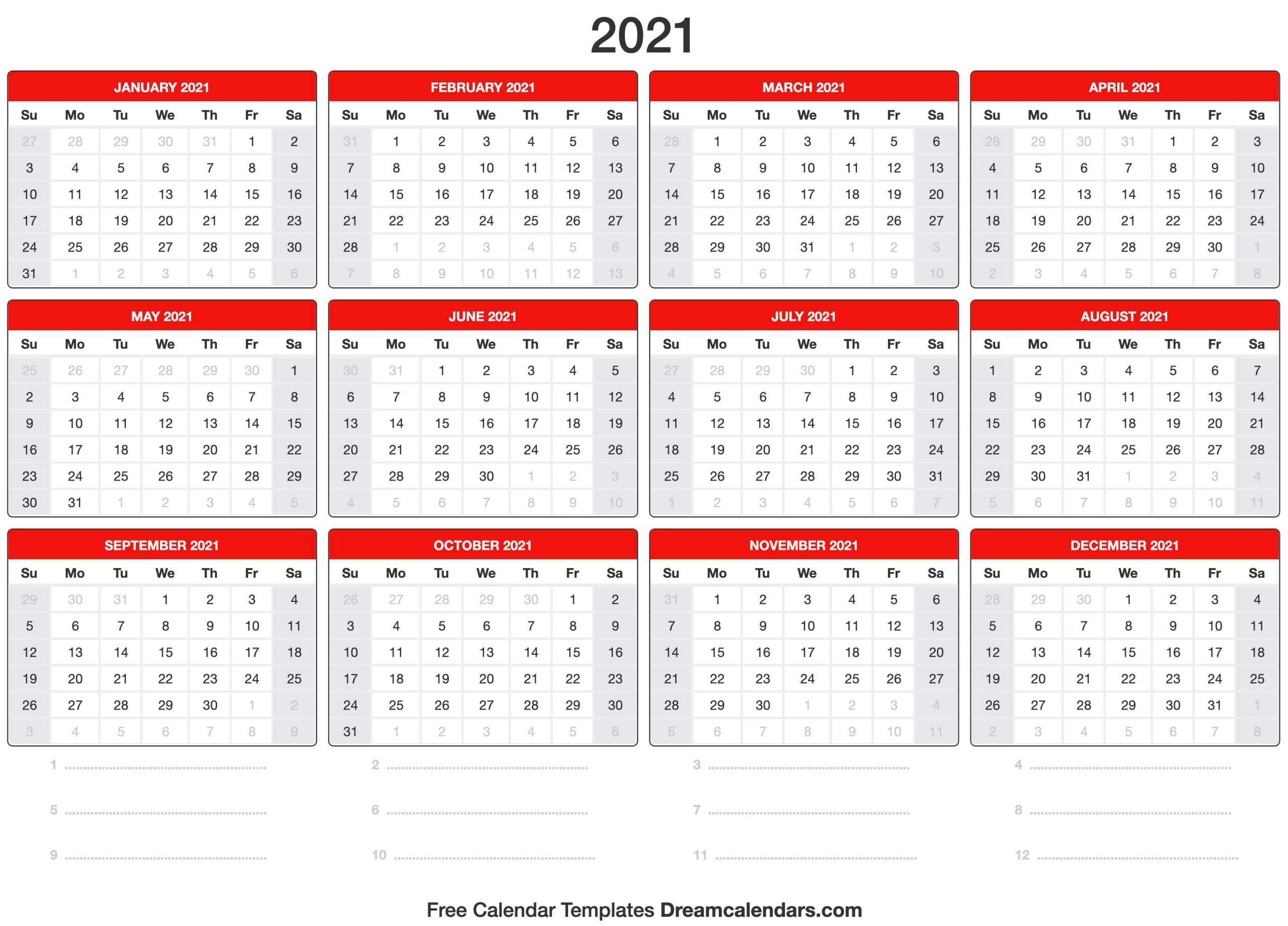 Printable 2021 Calendar Template In 2020 Calendar Template 2020 Calendar Template Printable Calendar Template