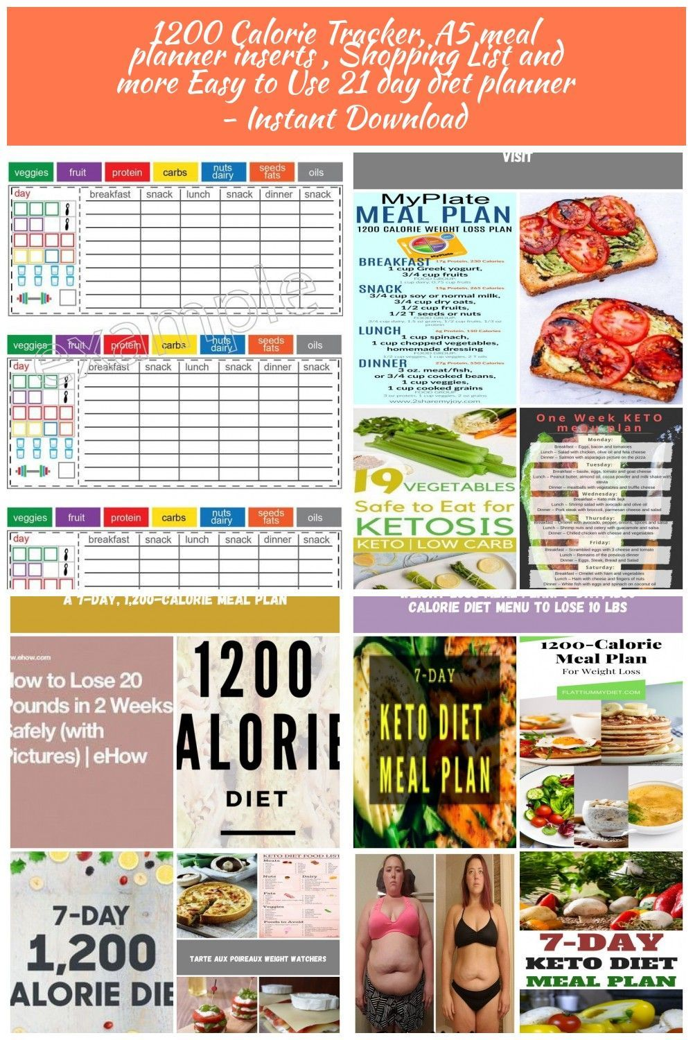 #calorie #calories #Day #diet #etsy #Fitness #Meal #planner #tracker 21 day fitness 1200 Calories Tr...
