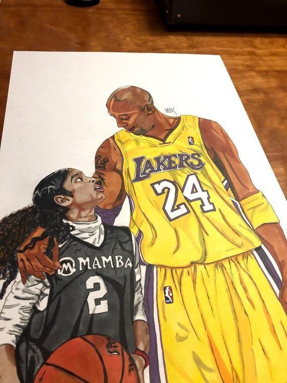 Original Kobe and Gigi Bryant Art Tribute in 2020 Kobe