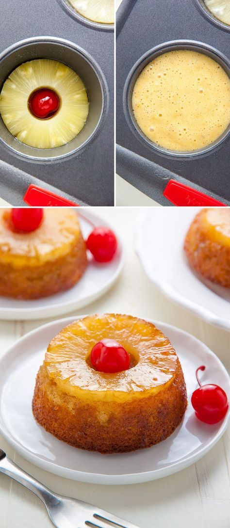 Pineapple Upside-Down Cakes #easydesserts