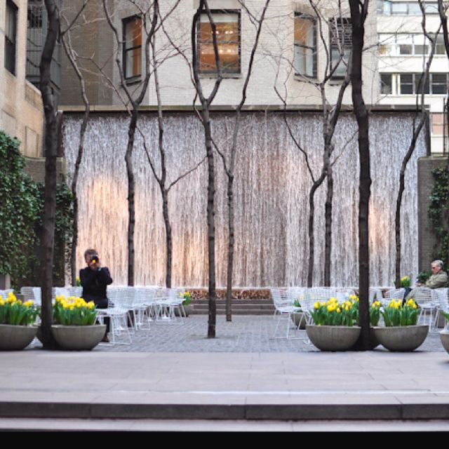 Fountains in common space, New York City.
