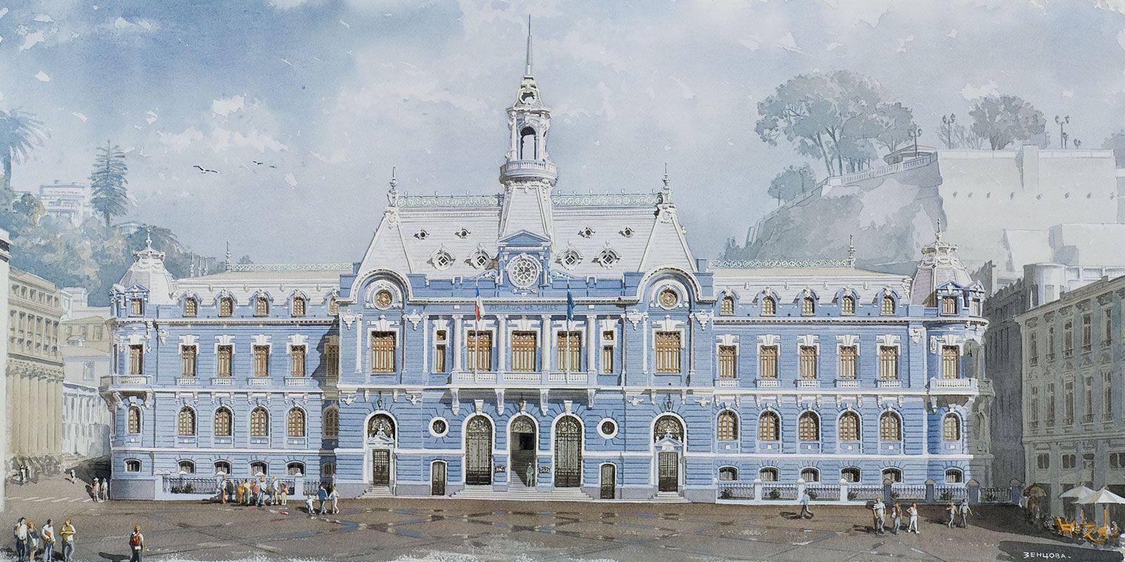 """Una de las 9 laminas Set """"VALPARAISO. Casas y palacios"""""""