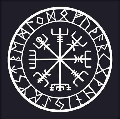 Viking Protection Runes Vegvisir Compass Talisman White Vinyl Etsy Viking Protection Rune Nordic Tattoo Viking Symbols