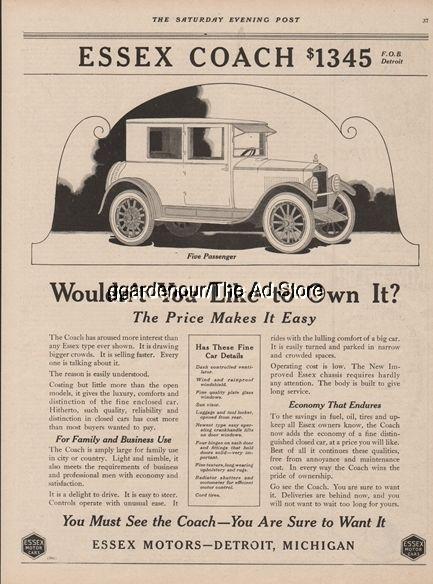 1922 Es Motors Detroit Mi Michigan Vintage Coach Closed Car 1345 Print Ad