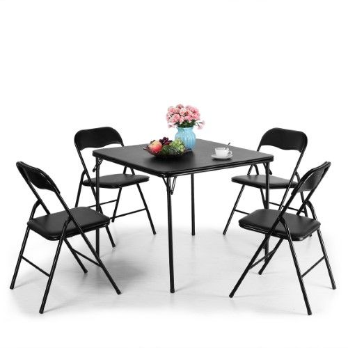 Series Folding Card Table And Chair Set Black 4 Pvc Material Chairs