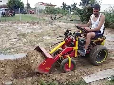 Homemade Mini Loader First Test Youtube Homemade Tractor