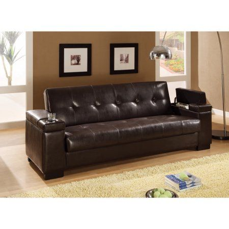 Leather sofa Bed with Storage