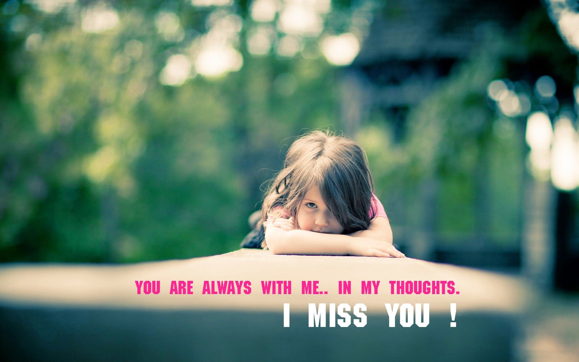Cute little Girl Miss You images with Quotes