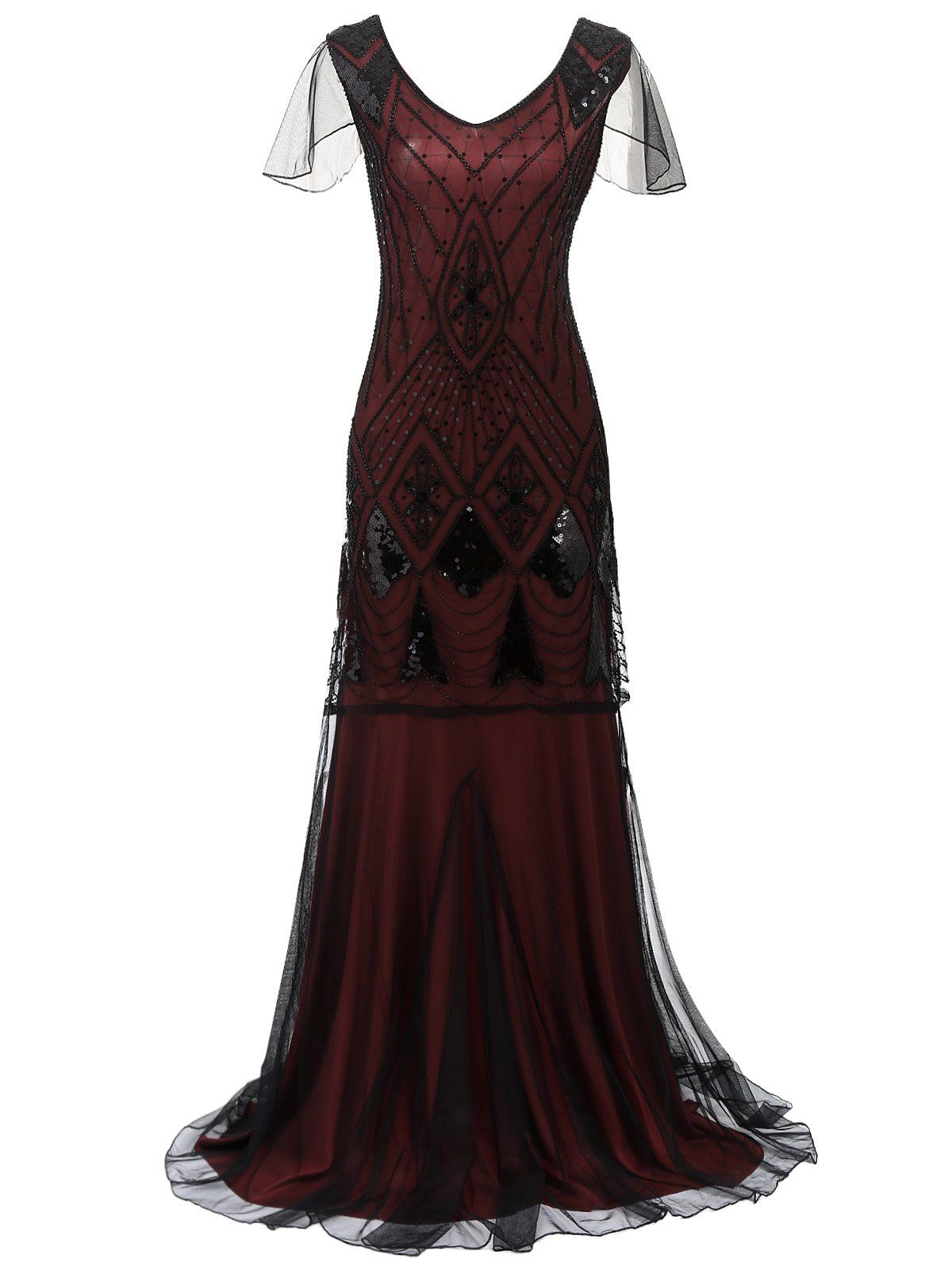 1920s Cap Sleeve Sequin Evening Party Maxi Dress Great Gatsby Prom Dresses Themed Prom Dresses Great Gatsby Long Dresses [ 1600 x 1200 Pixel ]