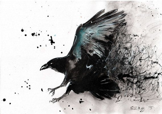 Ink drawing on canvas A4 - abstract turquoise raven flying ...