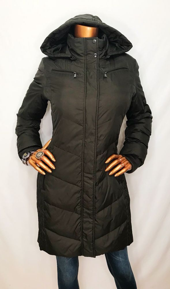 michael kors m women hooded puffer jacket mk logo snap buttons zip olive green ebay