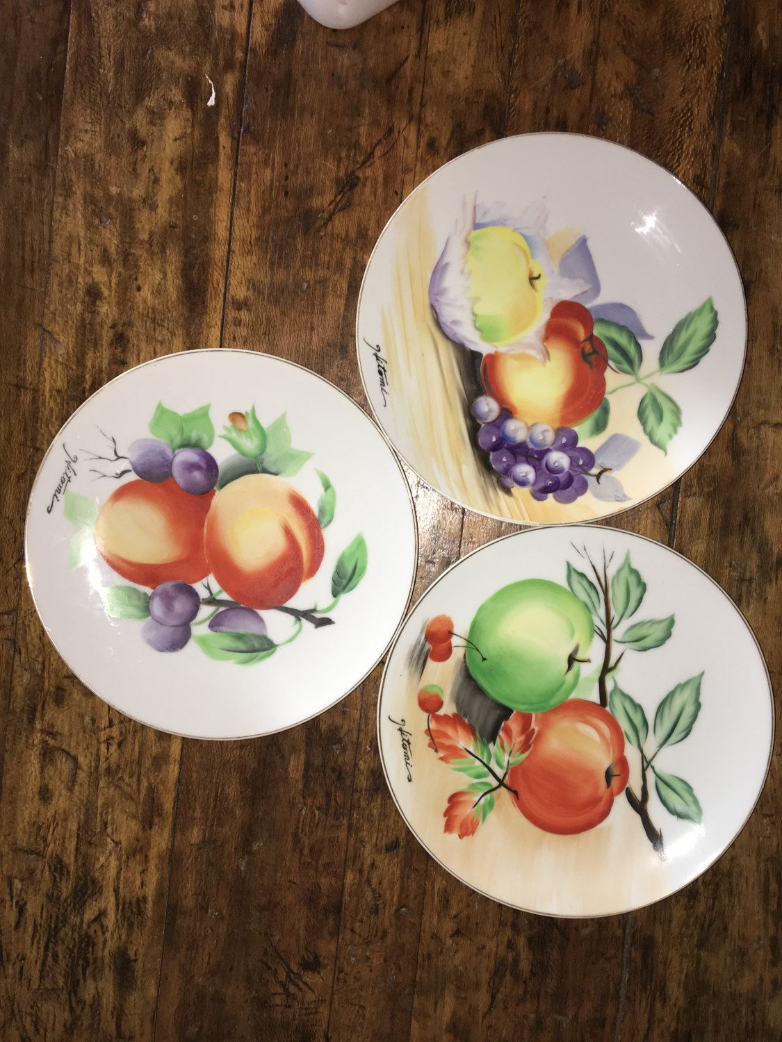 Plates Wall Decor Vintage Hitomi Fruit Plates Three Hand Painted Plates Made In