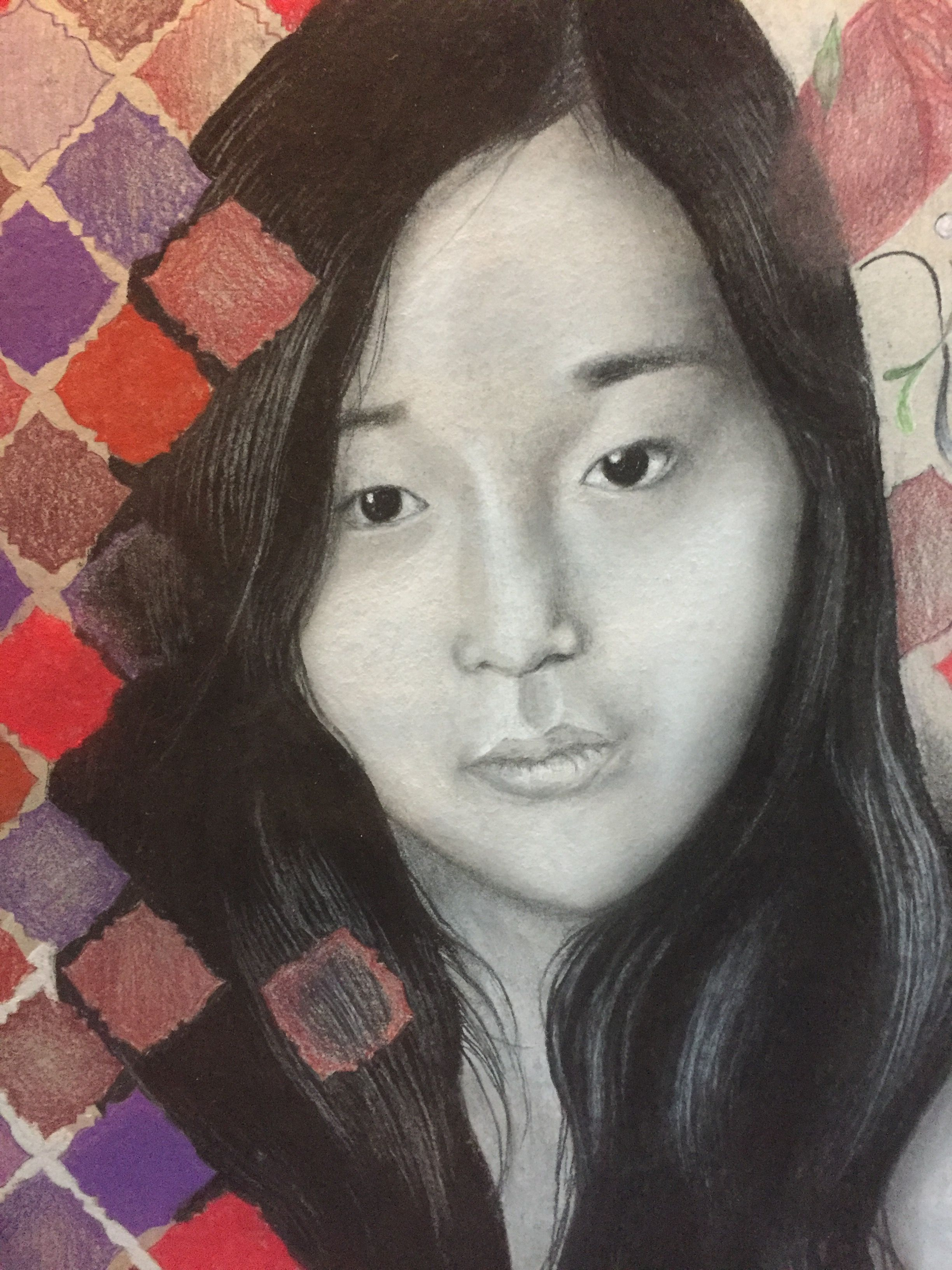 High School Art Class Level Ii Self Portrait Projects In Charcoal And Pastels Faces Were Monochromatic Wit Portrait Studio Art Lessons High School Portraits