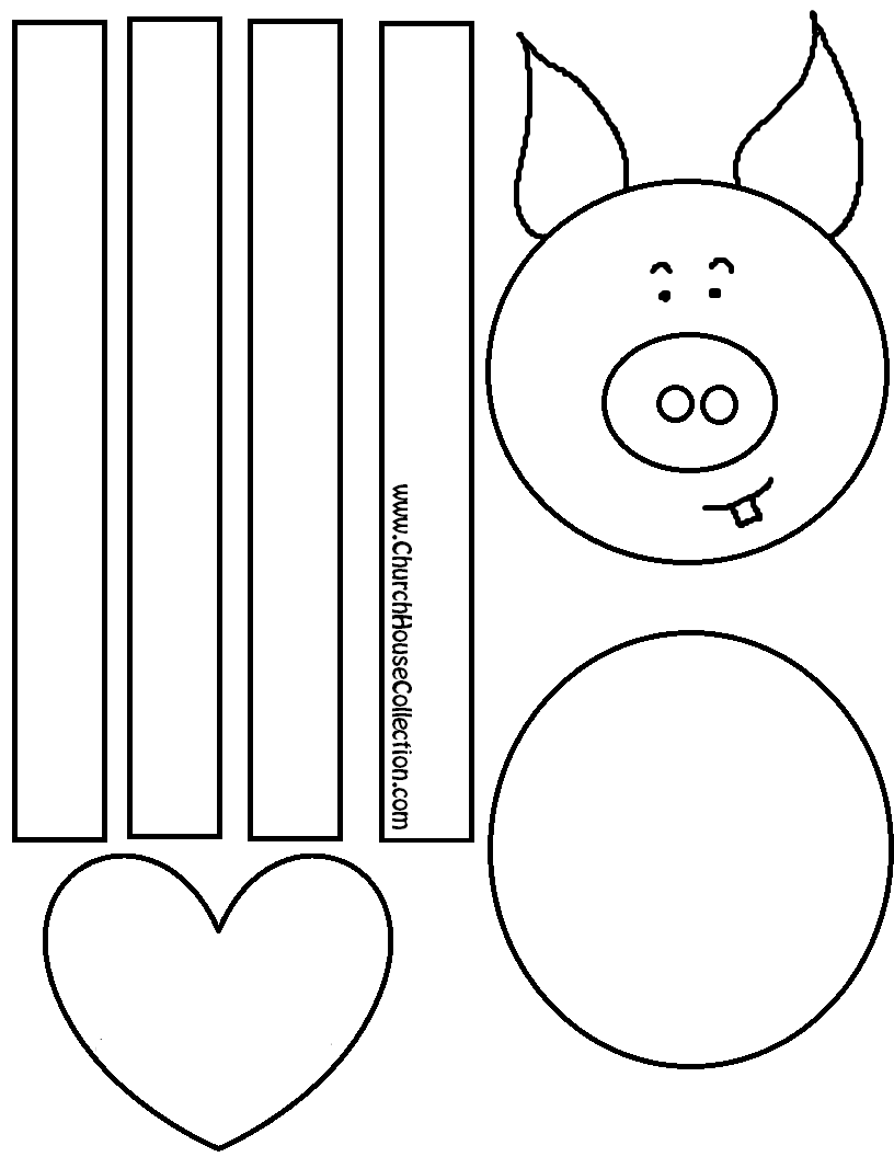 Pig Craft For Valentine's Day For Kids Coloring Page