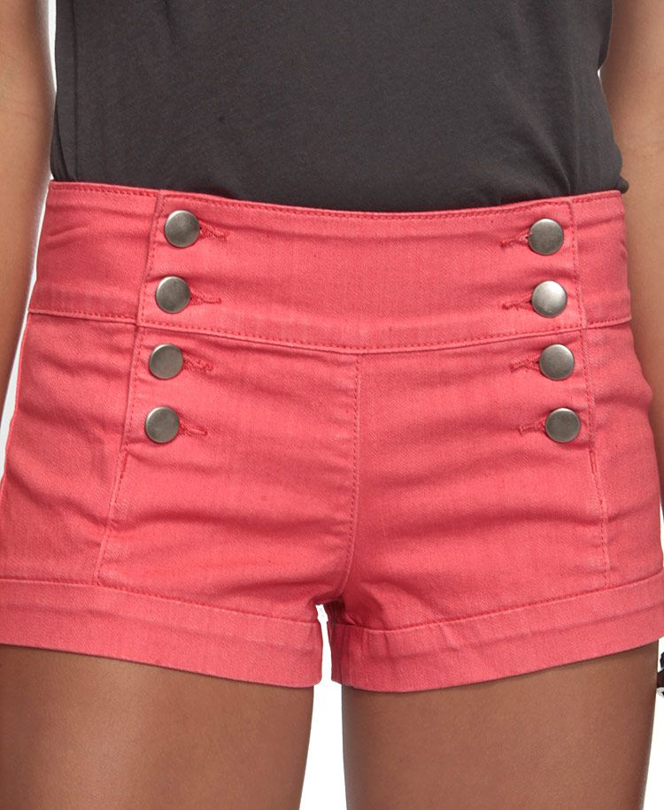 Coral high waisted shorts with buttons
