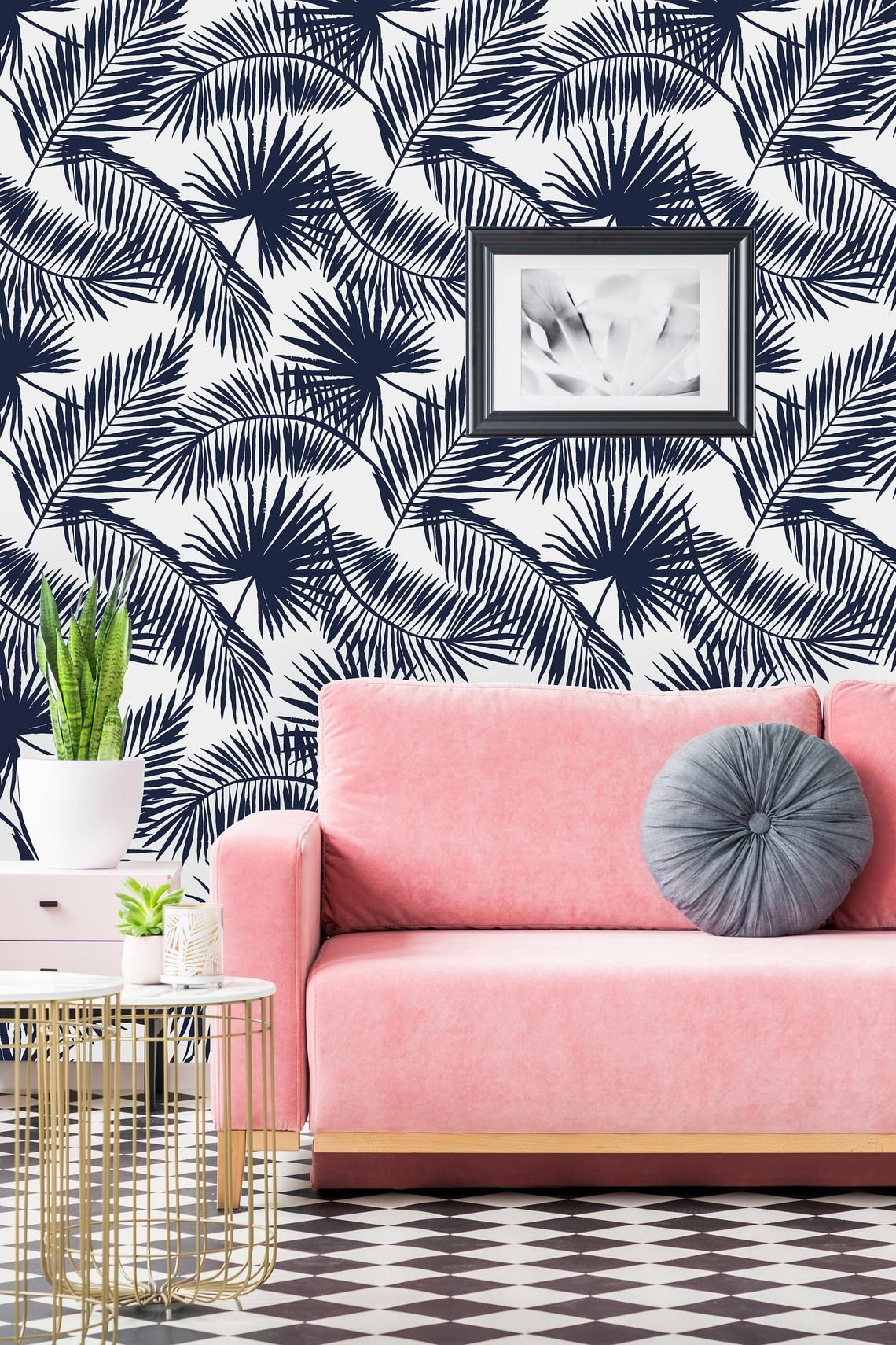 Navy Palm Leaves Removable WallpaperPeel and Stick