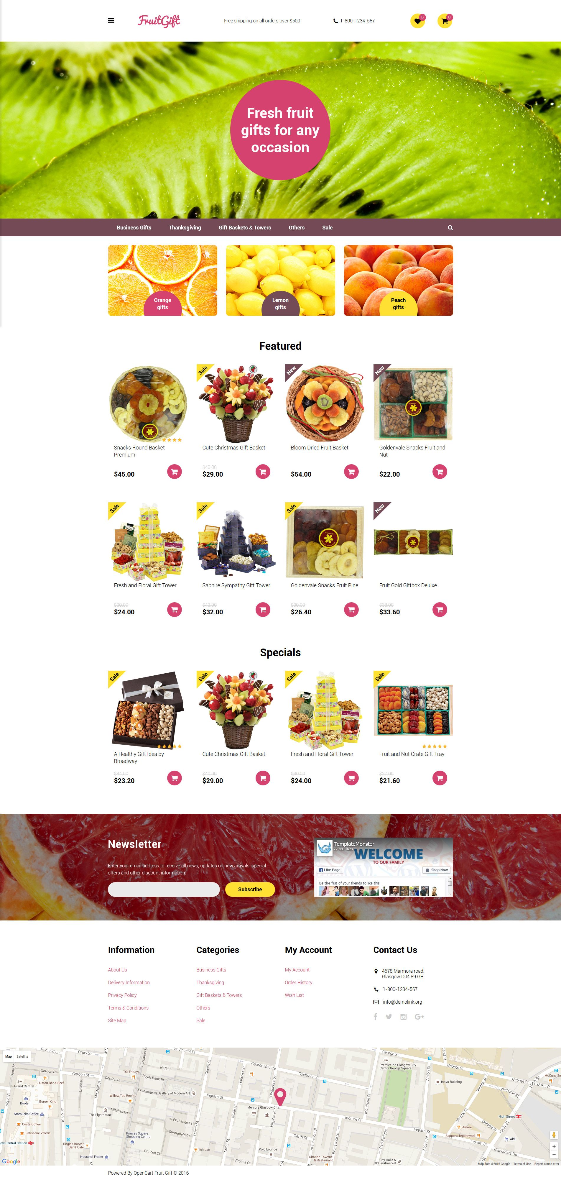 Fruit Gifts OpenCart Template OpenCart Themes