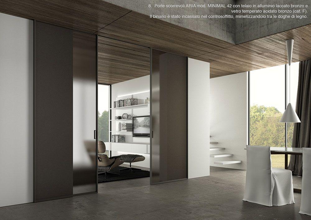 Porte scorrevoli ARIA mod. MINIMAL 42 con telaio in alluminio ...