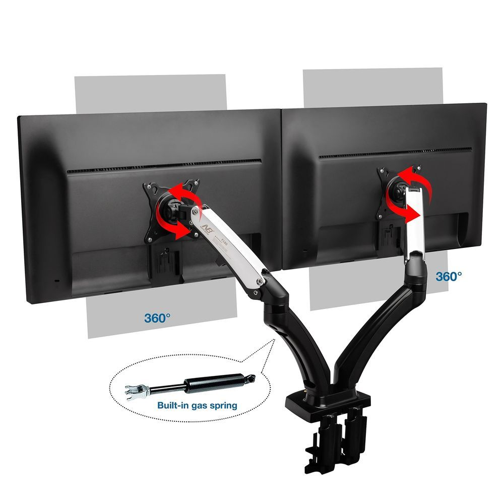 Tv Led Dual Monitor Desk Mount Screens Bracket Full Motion Swivel And Gas Spring
