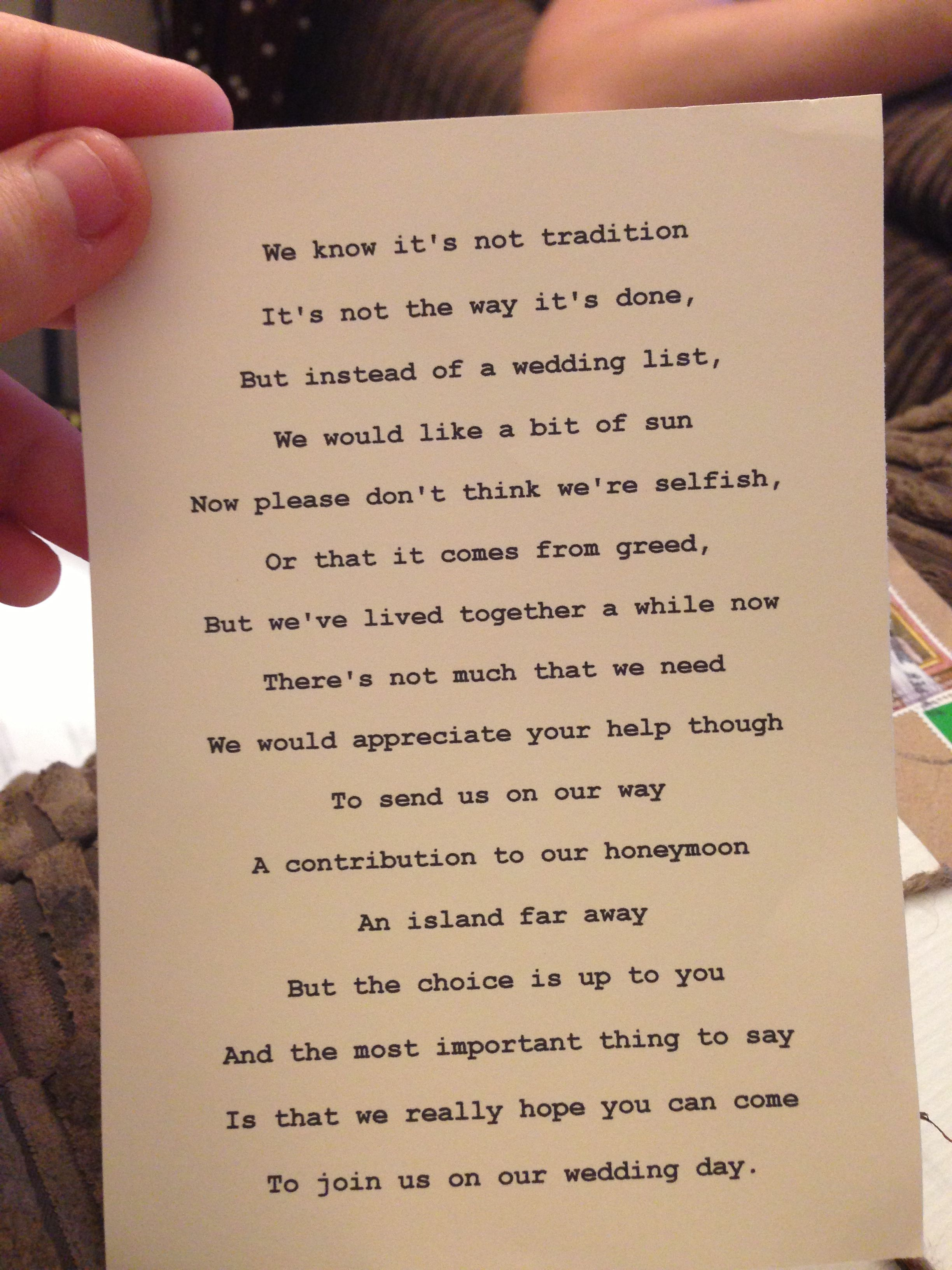 Little Poem With Wedding Invitation Asking Guests To Put A