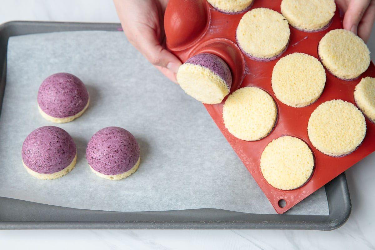 Mini Blueberry Mousse Cakes with Mirror Glaze #oliveoils