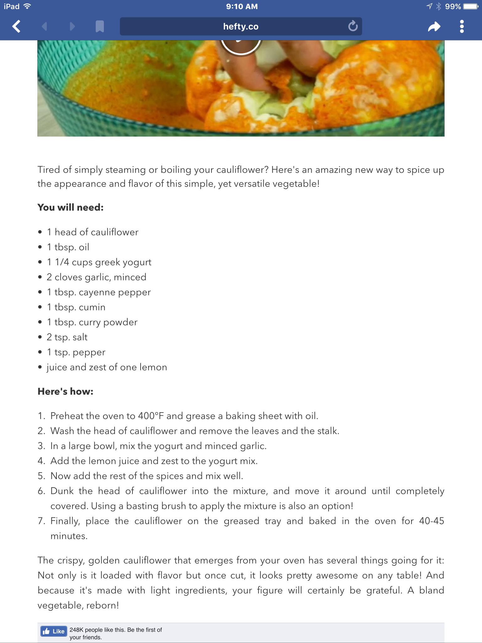 Spicy cauliflower