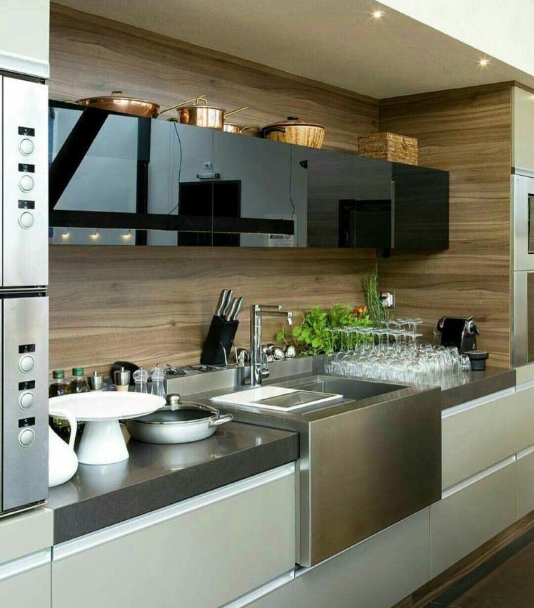 credence cuisine bois meuble design moderne maison de. Black Bedroom Furniture Sets. Home Design Ideas