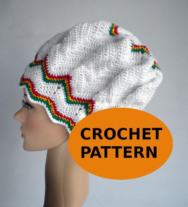 Dreadlock Hat Crochet Chevron Pattern Zigzag Slouchy Chevron Beanie