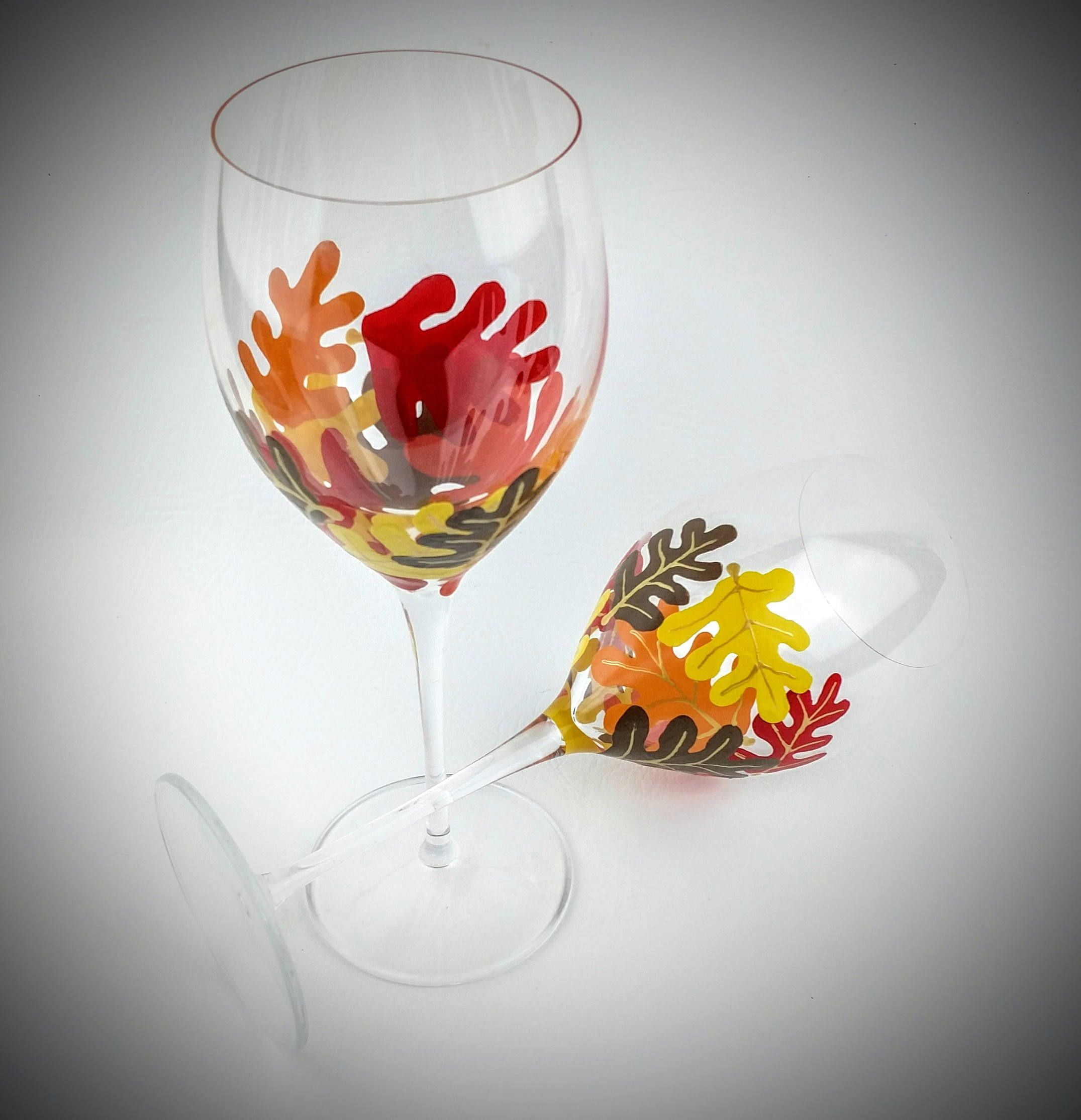 Fall leaf wine glasses autumn hand painted wine glasses fall decor