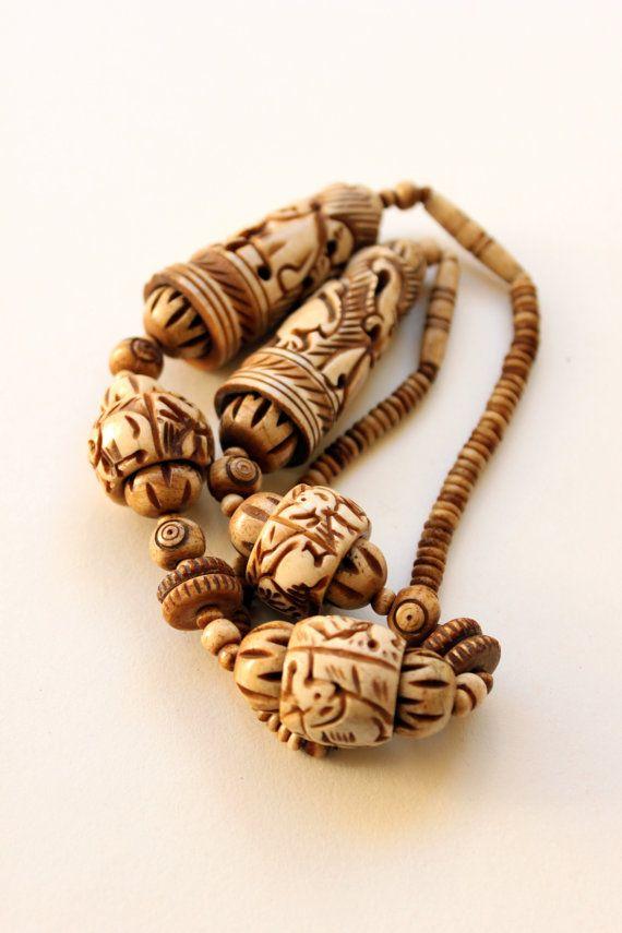 Vintage Tibetan Bone Necklace Carved Bone Necklace Handcrafted Tibetan Jewelry Aged Cow Bone Beads Bone Carving Bone Necklace Tibetan Jewelry