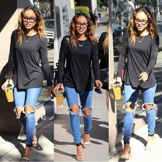 @Karrueche spotted wearing the ripped-knee jean trend. Get the look with our