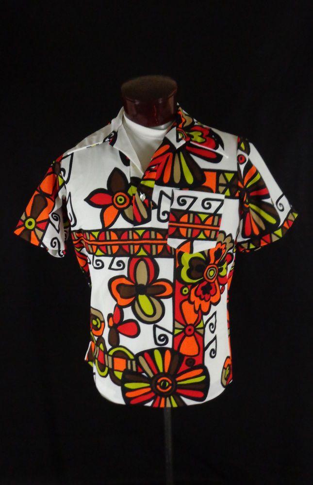 52f60429 Vintage Napili White Polyester Abstract Floral Print Pull Over Hawaiian  Shirt-44 #Napili #Hawaiian #Doyoureallyneedone