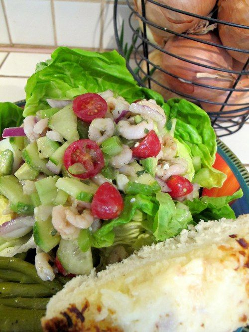 Crispy Shrimp Salad with Lime Vinaigrette - perfect for hot weather