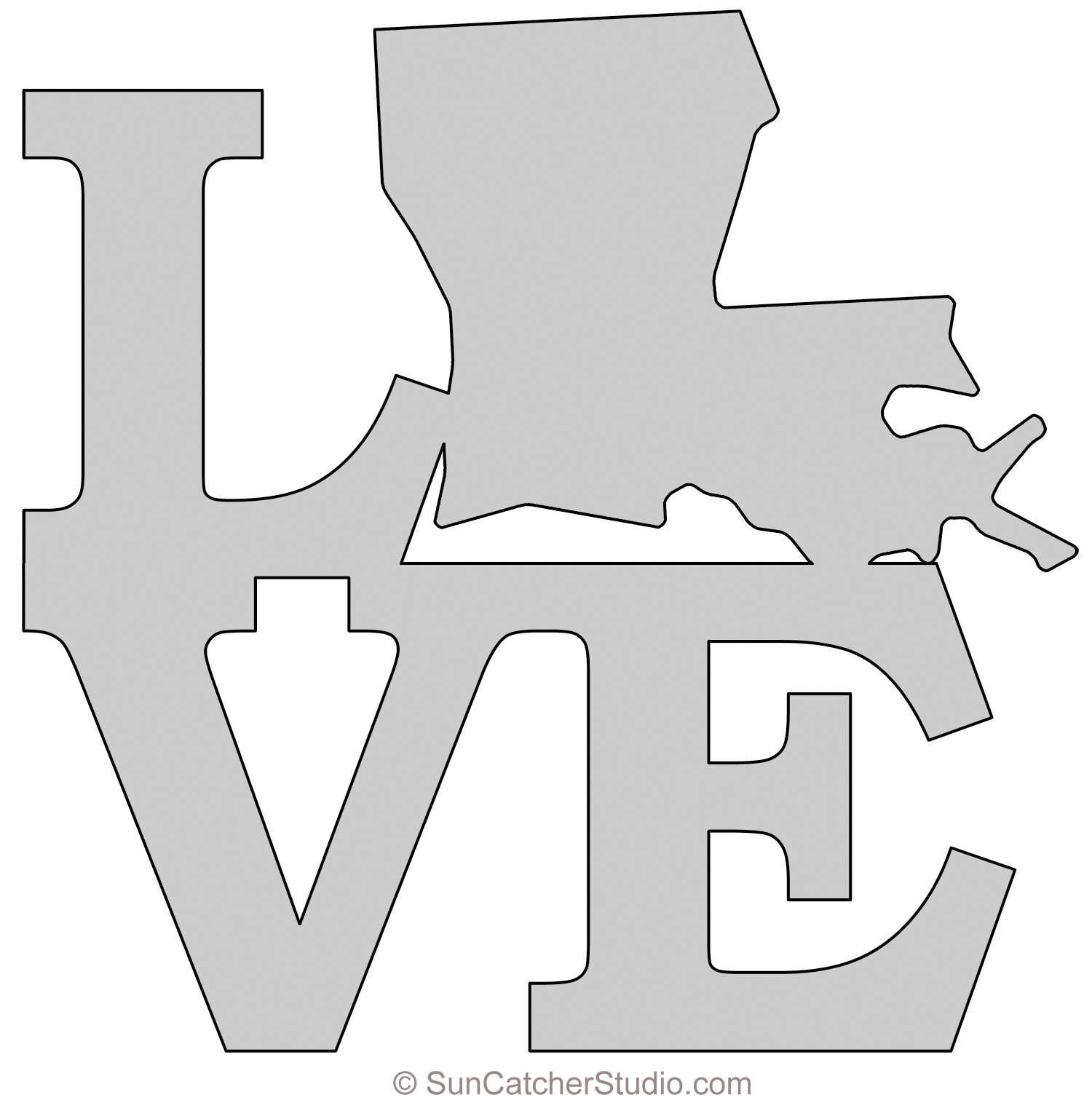 Louisiana LOVE map outline scroll saw pattern shape state stencil