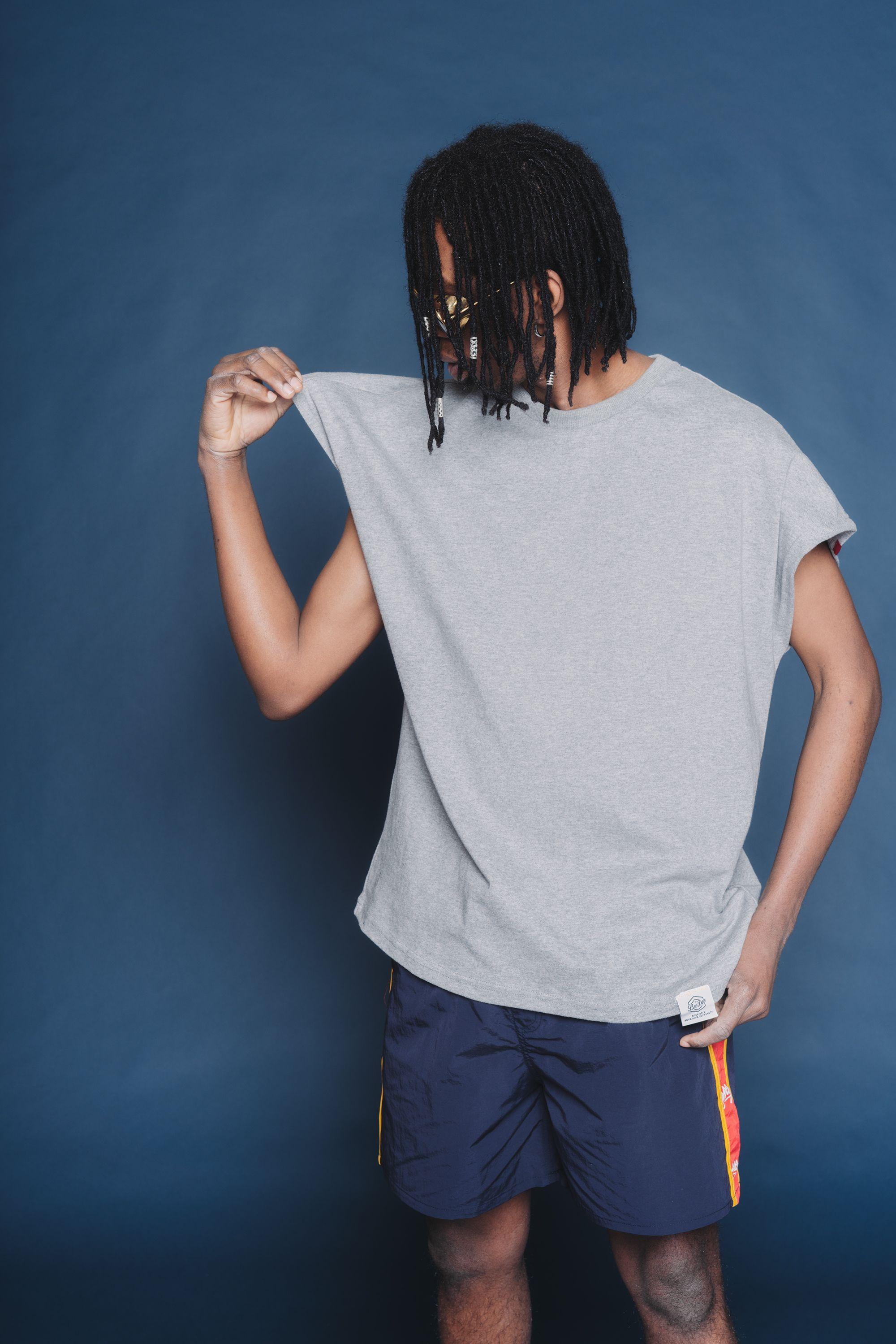 Bat sleeve loose t shirts men plus size casual solid color mens t