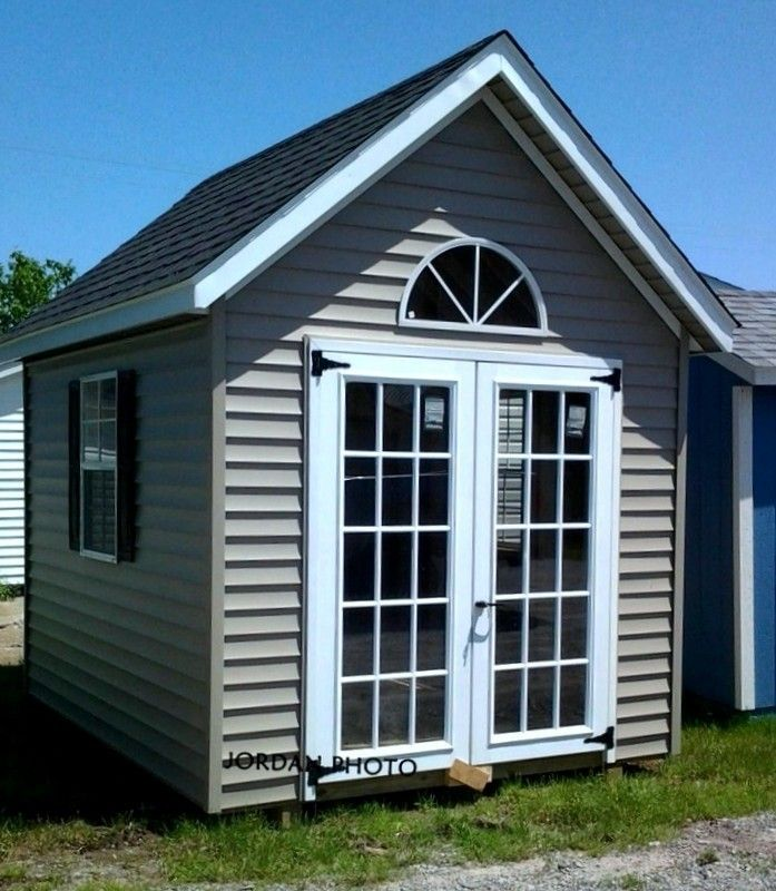 10x10 Aframe Chalet Vinyl Siding French Doors Amish Sheds Shed Vinyl Siding