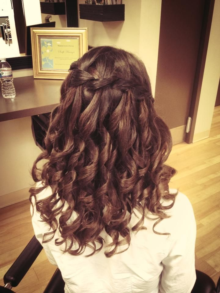 waterfall braid prom hair braided