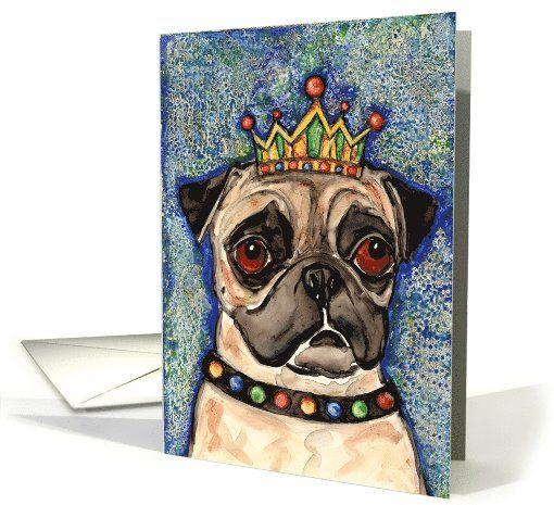 king fawn pug dog puppy blank card  fawn pug dogs